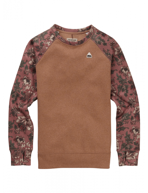 BURTON WOMEN'S OAK CREW SWEATSHIRT Brownie / Floral Camo
