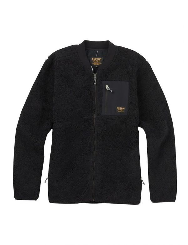 burton bower fleece full zip true black