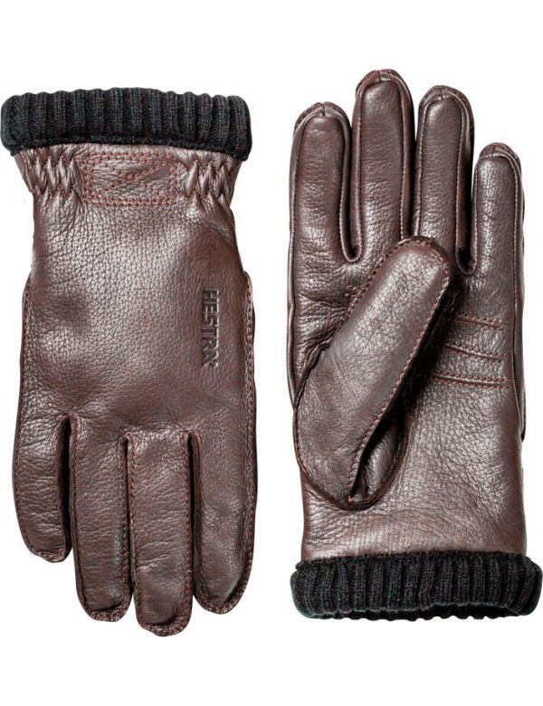 HESTRA DEERSKIN PRIMALOFT RIB GLOVES brown