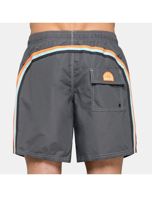 SUNDEK ELASTIC WAIST MID-LENGTH SWIMSHORT Medium grey