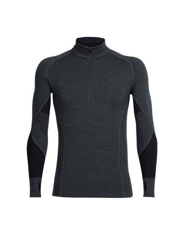 ICEBREAKER MEN'S BODYFITZONE WINTER ZONE LONG SLEEVE HALF ZIP JET HEATHER