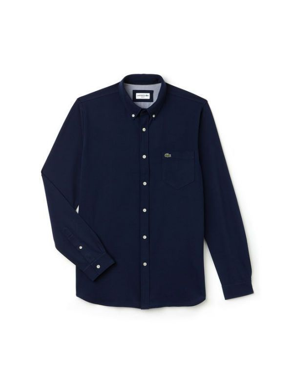 LACOSTE SLIM FIT COTTON JERSEY SHIRT MARINE