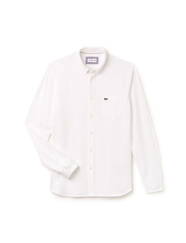 LACOSTE SLIM FIT COTTON JERSEY SHIRT white