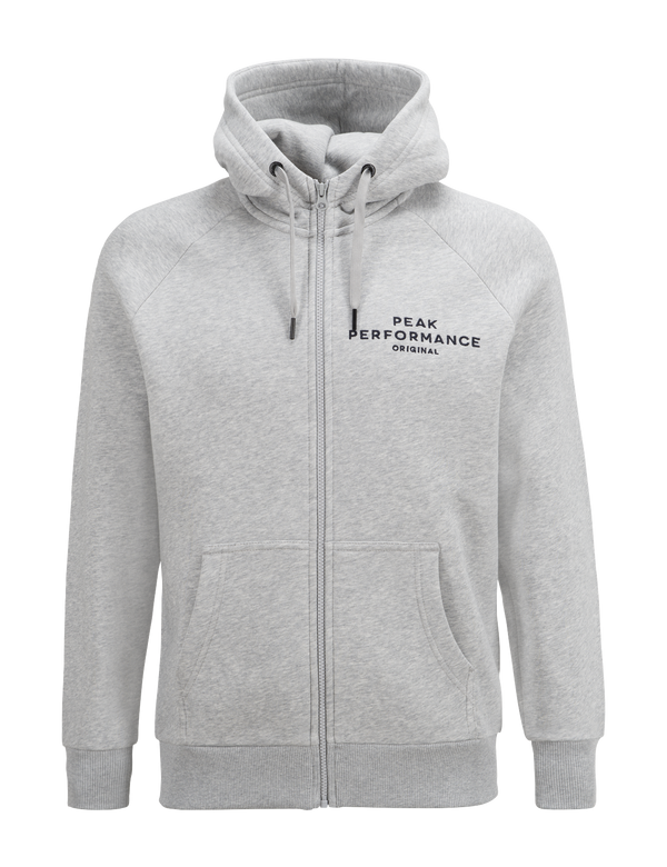 peak performance men's logo zip-up hoodie grey melange