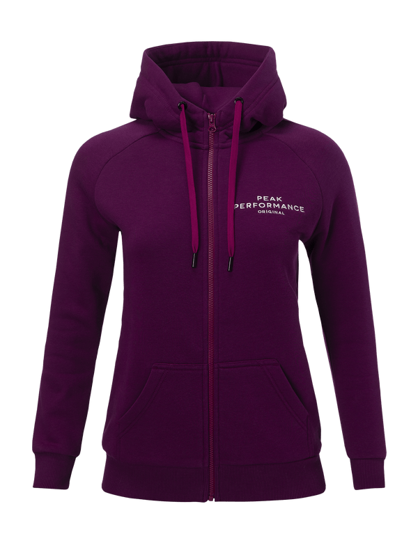 Peakperformance women's logo cotton blend zip-up hoodie blood cherry