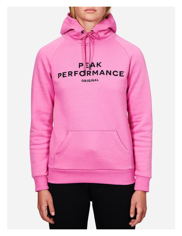 peak performance women's cotton blend logo hood vibrant pink