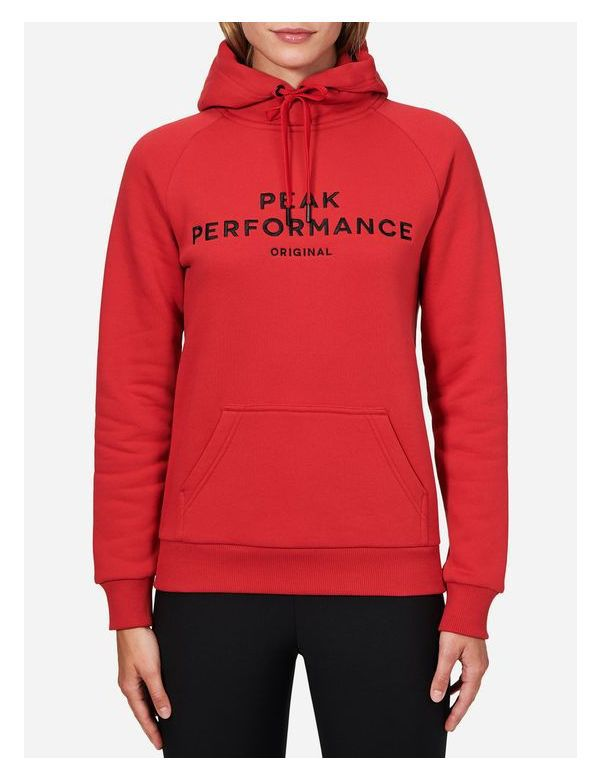 Peak performance logo hood red