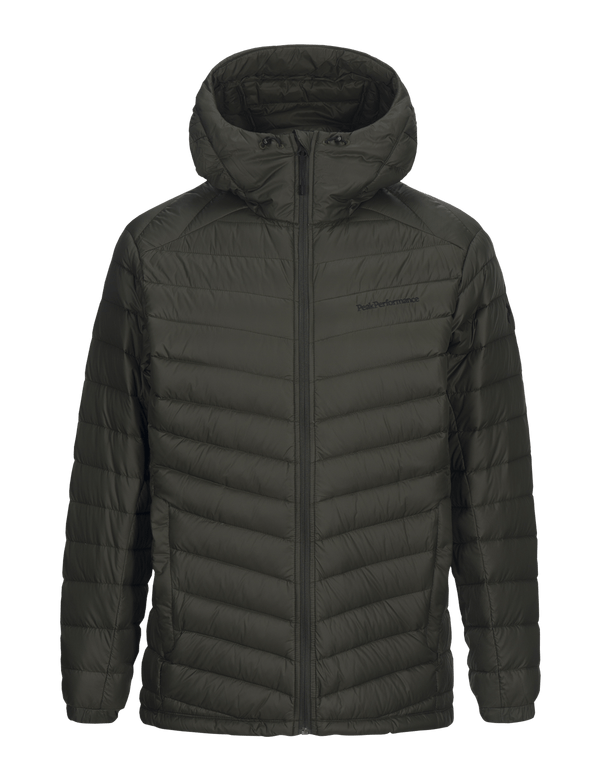 Peak performance men's hooded frost down jacket forest green