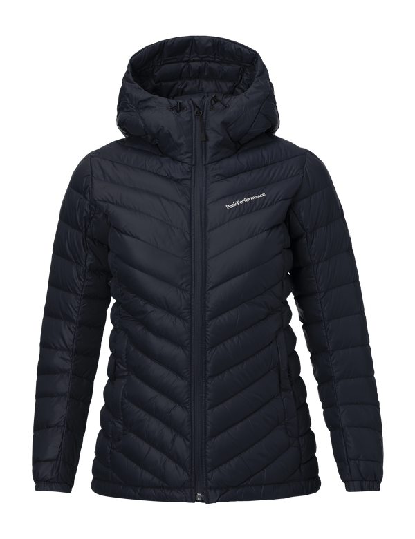 Peak performance women's frost down hooded pertex jacket salute blue