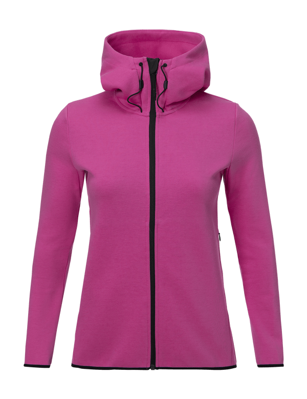 peak performance women's tech cotton blend zip-up hoodie vibrant pink