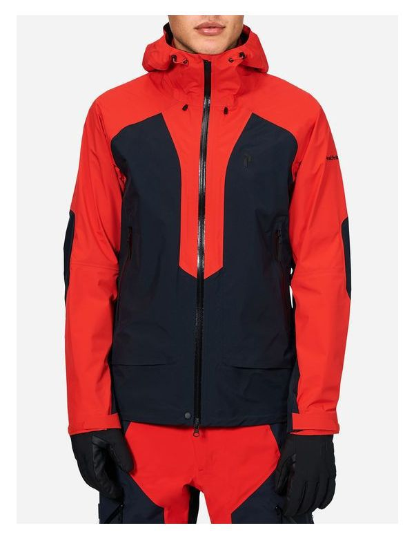 Peak performance tour ski jacket salute blue red