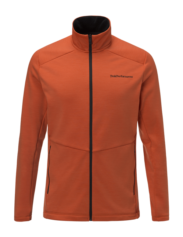 peakperformance men's helo mid zipped orange flow