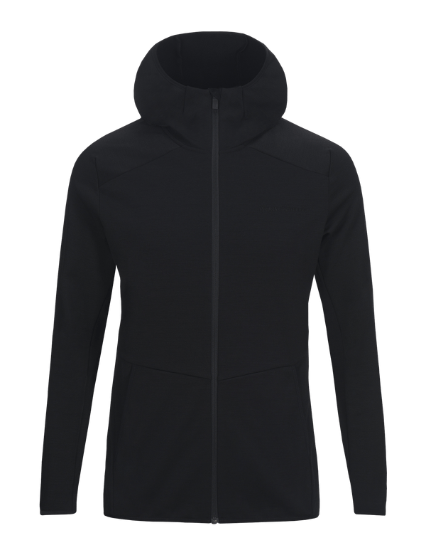 PEAKPERFORMANCE MEN'S HELO MID-LAYER ZIPPED HOODIE black