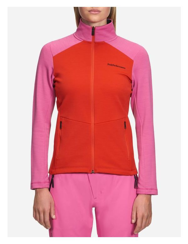 PEAK PERFORMANCE WOMEN'S HELO MID-LAYER ZIPPED vibrant pink