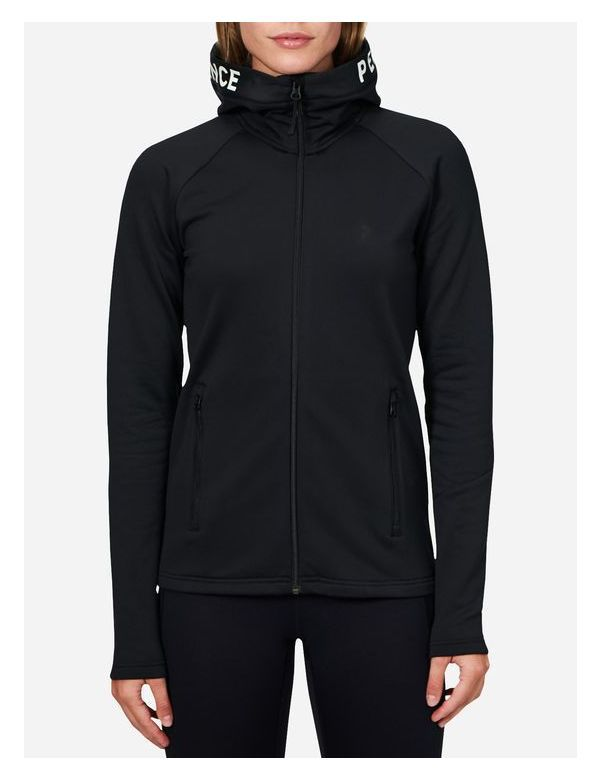PEAK PERFORMANCE WOMEN'S STRETCH RIDER ZIP-UP  HOOD black