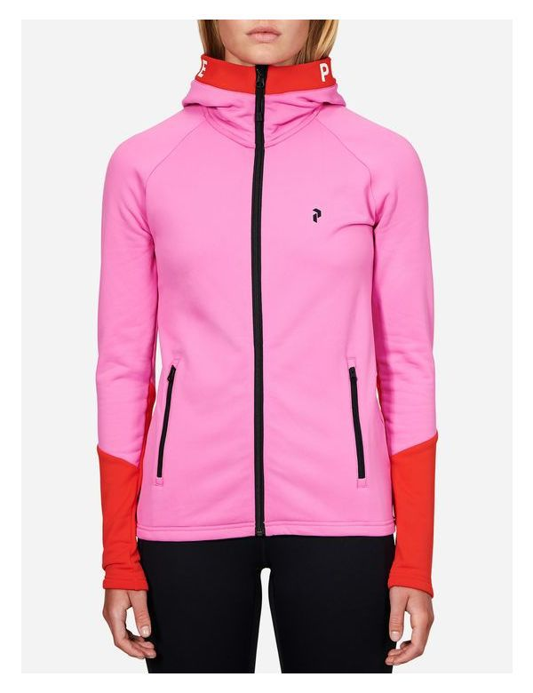 Peak performance women's rider zip hood vibrant pink