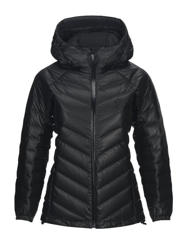 peak performance women's down dry frost hooded jacket black