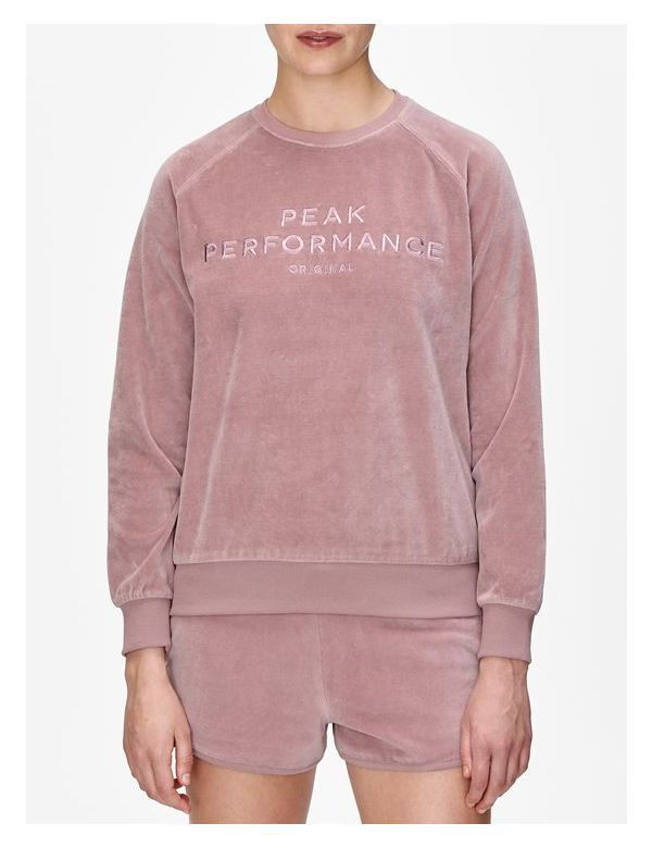 peak performance original velour crew neck dusty roses