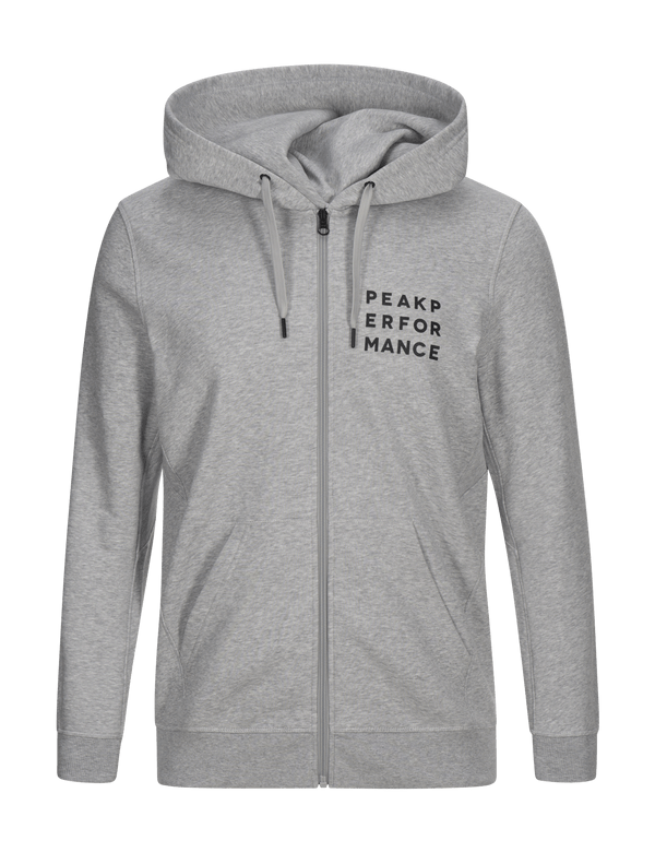 peak perfomance ground hood zip hoodie med grey melange