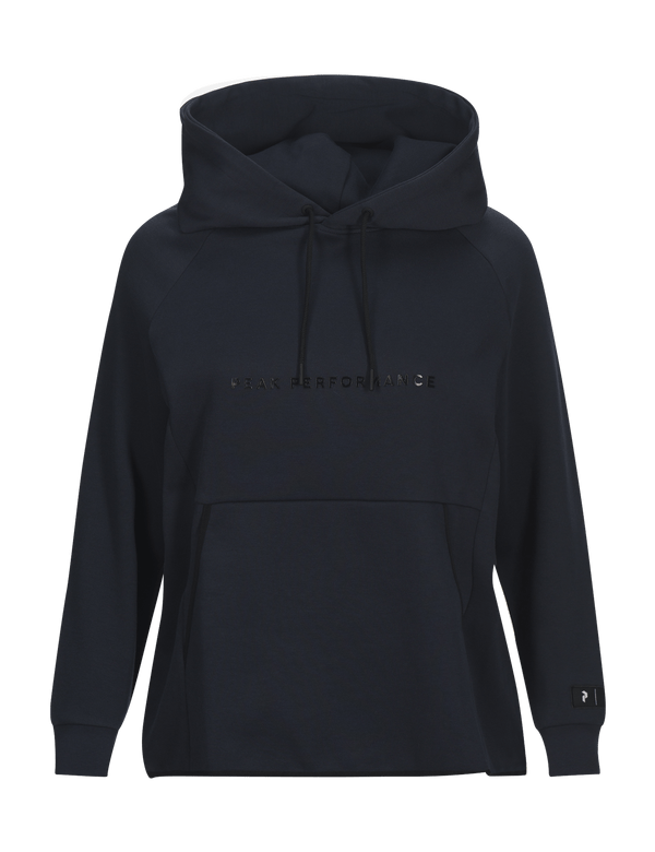 peak performance woman's tech cotton blend hoodie salute blue