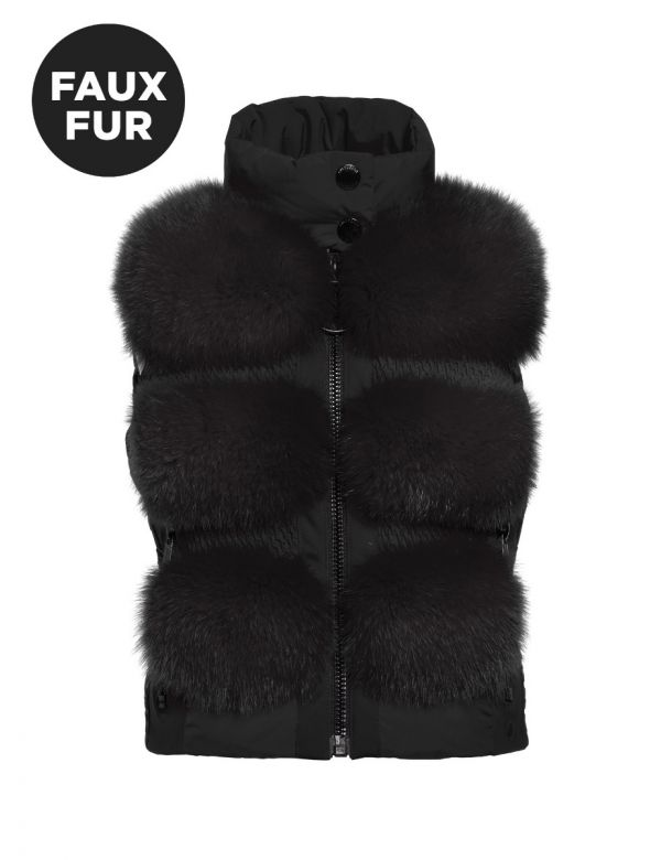 GOLDBERGH FOXY BODYWARMER FAUX FUR Black