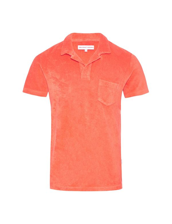 ORLEBAR BROWN TERRY TOWELING POLO Hot Coral