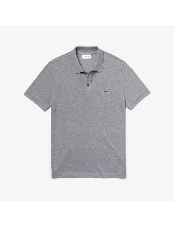 lacoste slim fit polo gris chine