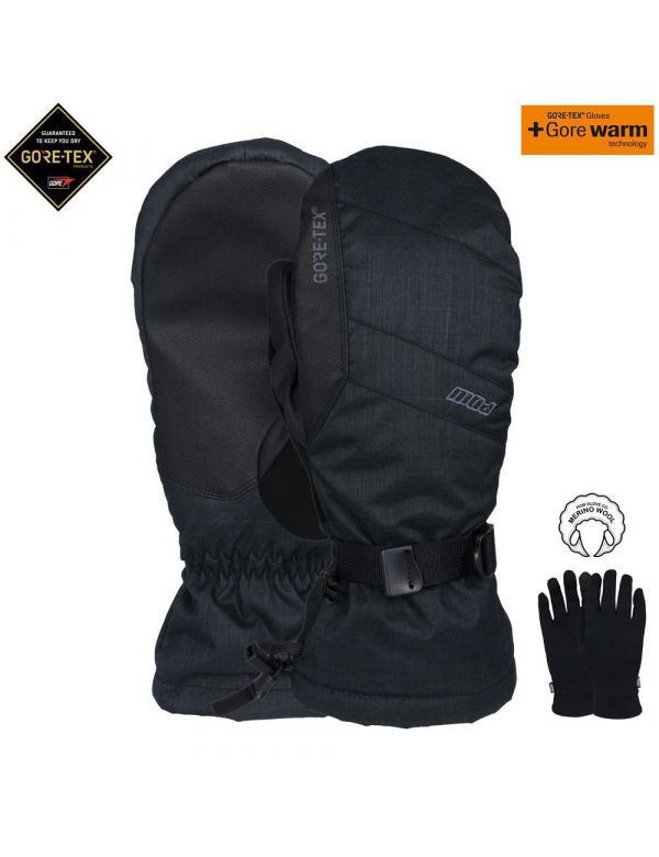 POW WARNER GORE-TEX® LONG MITT Black + Liner