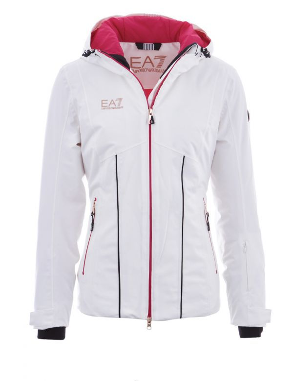 armani women's ski bomber jacket white