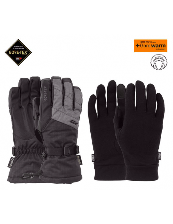 POW WARNER GTX® SHORT GLOVE + LINER Charcoal