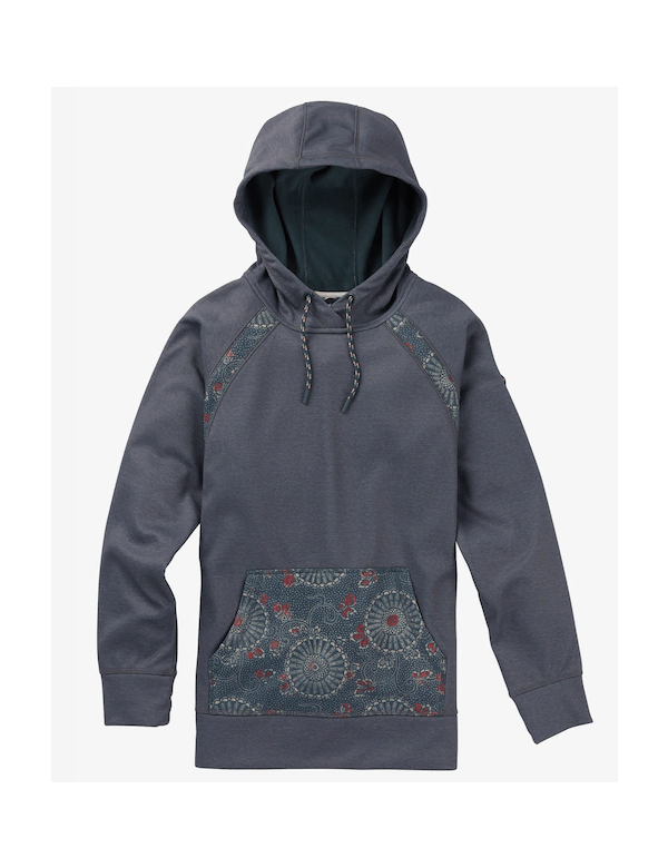 BURTON WOMEN'S CROWN BONDED PULLOVER HOODIE Dark Slate Heather / Domo Print