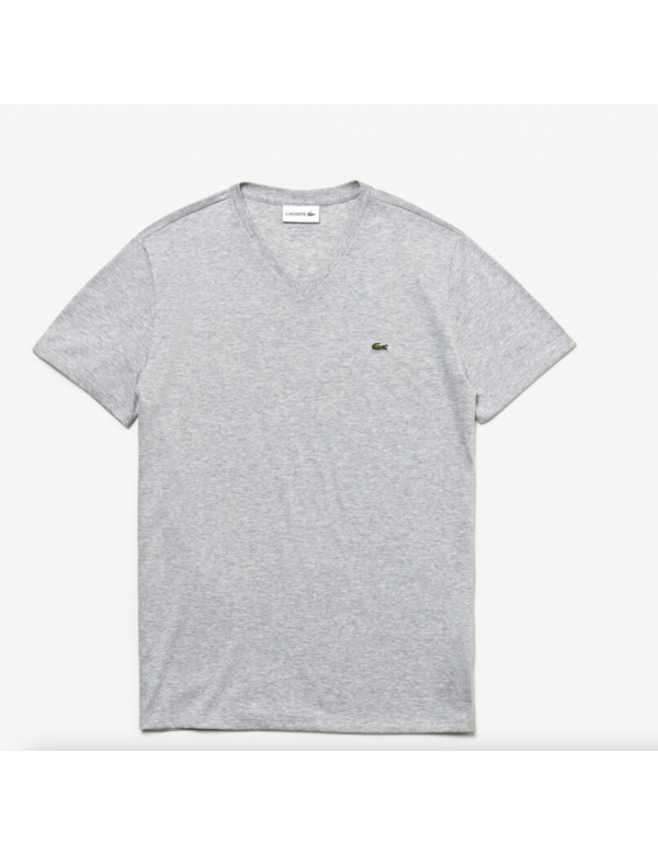 LACOSTE T-SHIRT MET V HALS Silver Chine