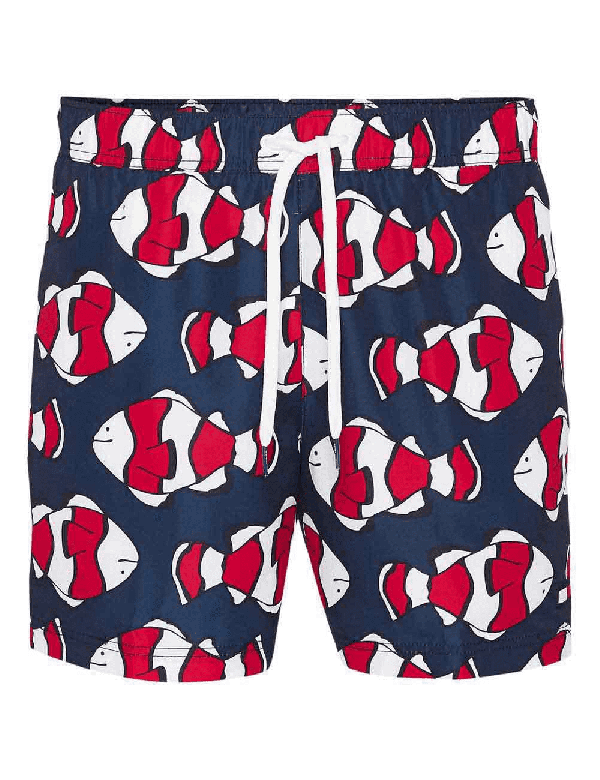 tommy hilfiger print fishes red navy