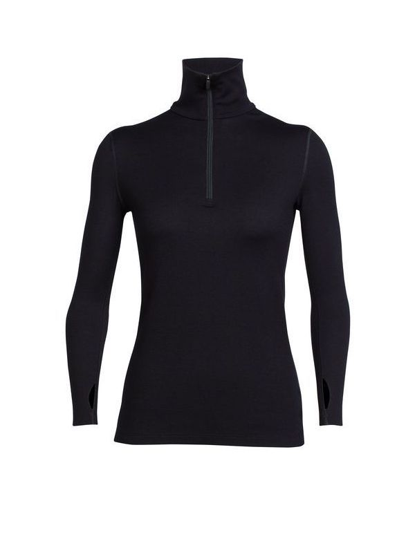 ICEBREAKER WOMEN'S TECH TOP LONG SLEEVE HALF ZIP BLACK