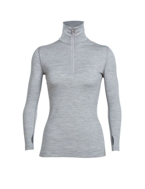 ICEBREAKER WOMEN'S TECH TOP LONG SLEEVE HALF ZIP GREY