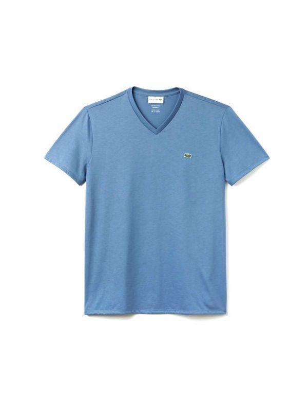 LACOSTE T-SHIRT MET V HALS GRAND BLUE