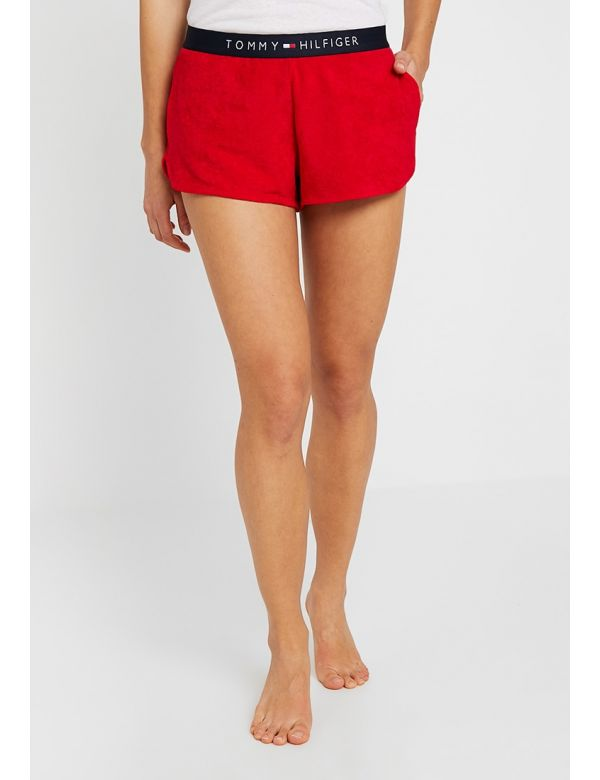 tommy hilfiger logo short tango red