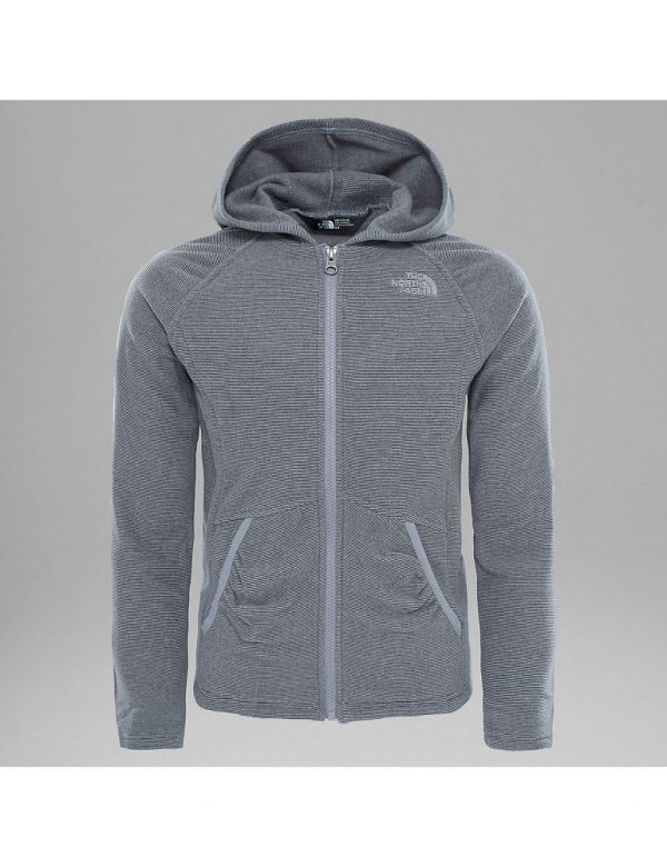 THE NORTH FACE GIRLS MEZZALUNA FULL ZIP MID GREY