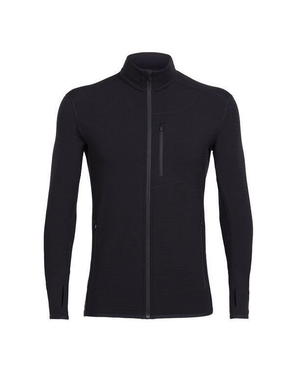 ICEBREAKER MEN'S DESCENDER LONG SLEEVE ZIP BLACK