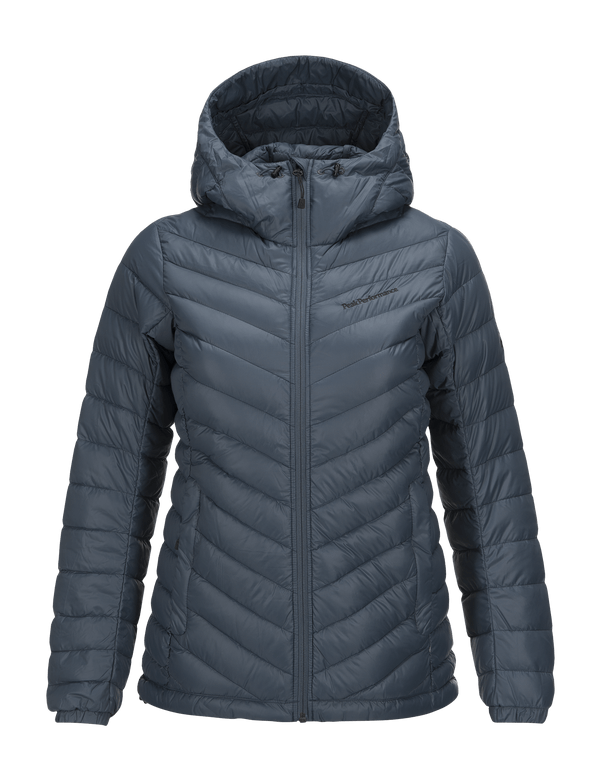 PEAKPERFORMANCE WOMEN'S FROST DOWN HOODED JACKET BLUE STEEL