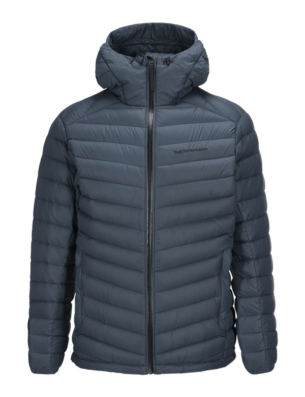 PEAKPERFORMANCE MEN'S FROST DOWN HOODED JACKET ZIP BLUE STEEL