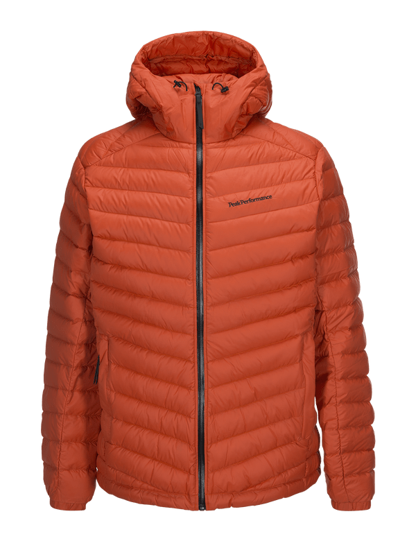 PEAKPERFORMANCE MEN'S FROST DOWN HOODED JACKET ZIP ORANGE LAVA