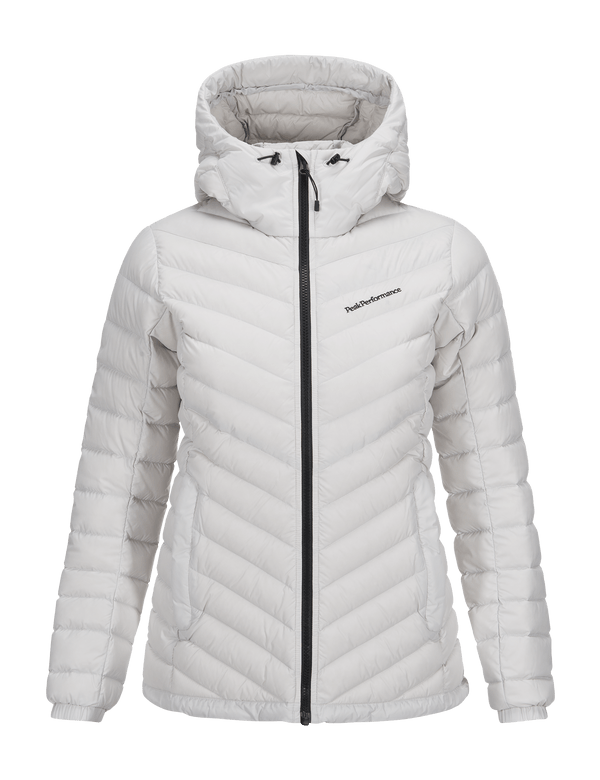 PEAKPERFORMANCE WOMEN'S FROST DOWN HOODED JACKET ZIP DK OFFWHITE