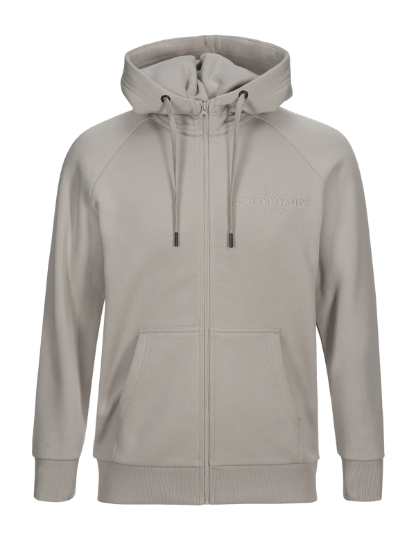 PEAKPERFORMANCE MEN'S LOGO COTTON BLEND ZIP-UP HOODIE mortar grey