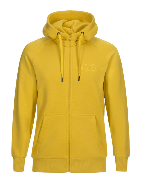 PEAKPERFORMANCE MEN'S LOGO COTTON BLEND ZIP-UP HOODIE dessert yellow