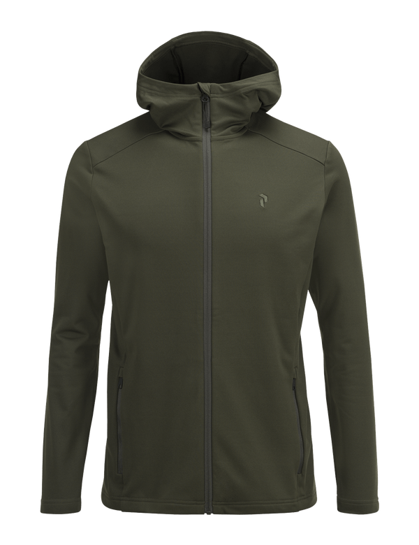 PEAKPERFORMANCE MEN'S ACE HOODED ZIPPED MID-LAYER FOREST NIGHT