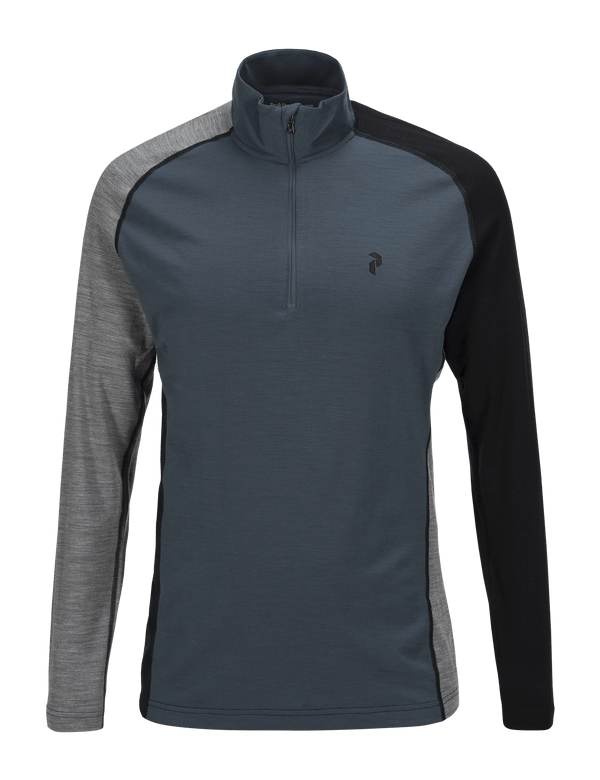 PEAKPERFORMANCE MEN'S MULTI HALF ZIPPED BASE-LAYER BLUE STEEL