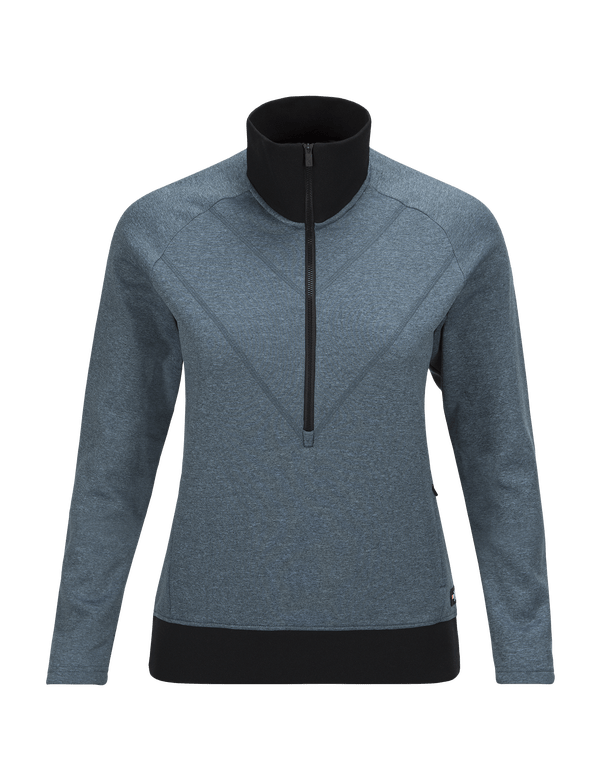 PEAKPERFORMANCE WOMEN'S GOLDECK HALF ZIPPED TOP BLUE STEEL