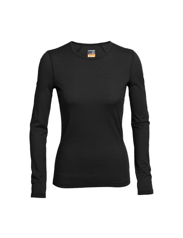 ICEBREAKER WOMEN'S OASIS LONG SLEEVE CREWE BLACK