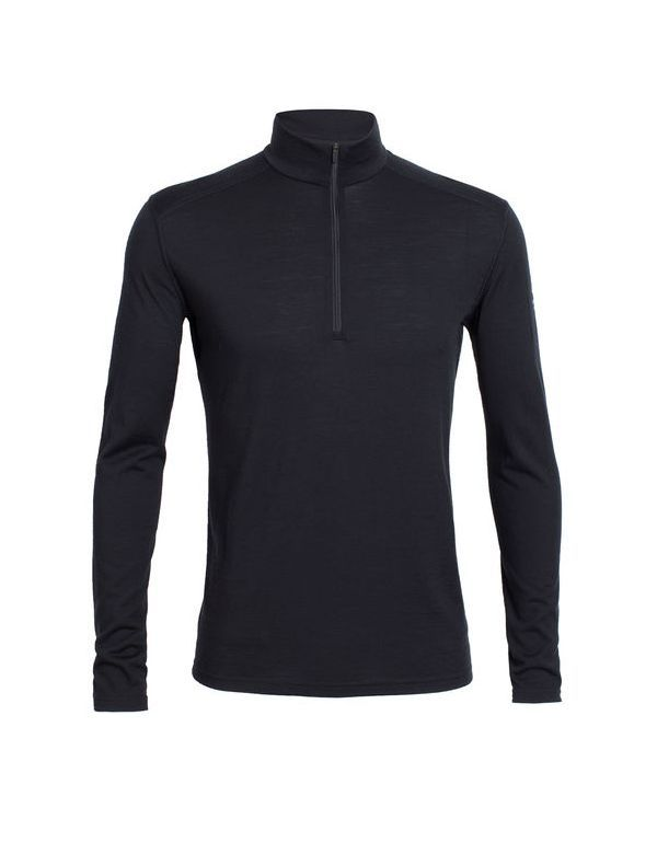 ICEBREAKER MEN'S OASIS LONG SLEEVE HALF ZIP BLACK